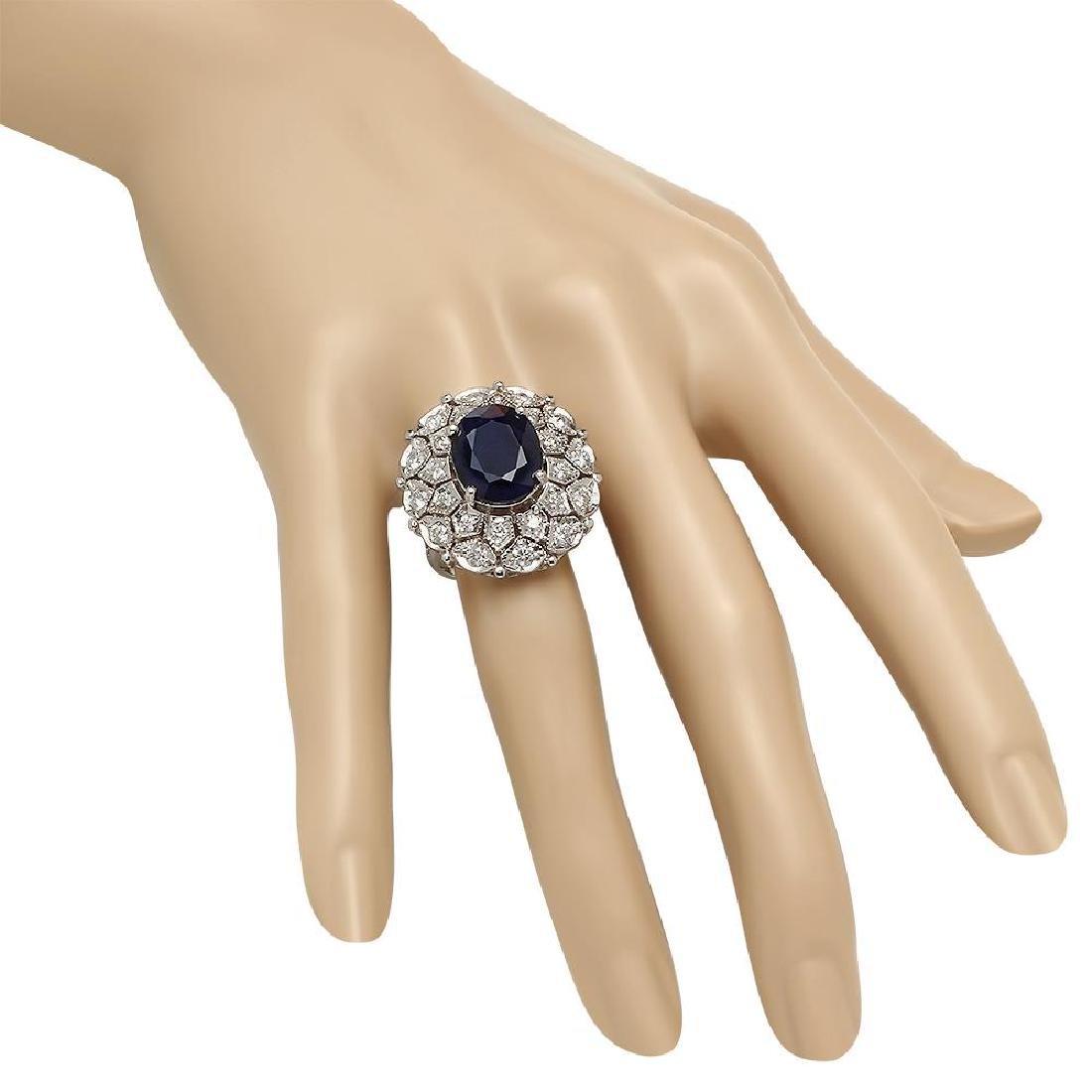 14K Gold 9.23ct Sapphire 1.72ct Diamond Ring - 3