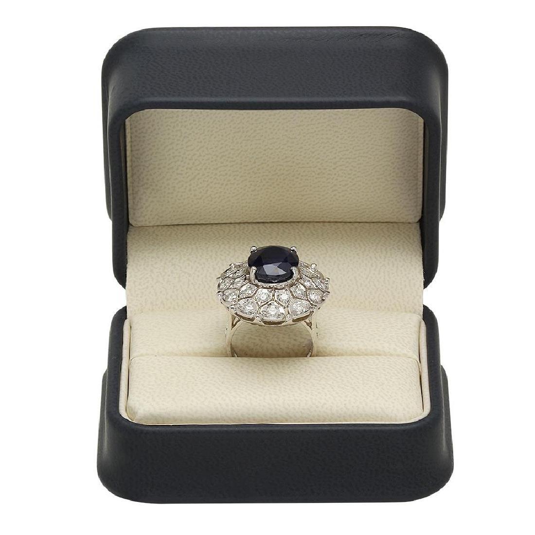 14K Gold 9.23ct Sapphire 1.72ct Diamond Ring - 4