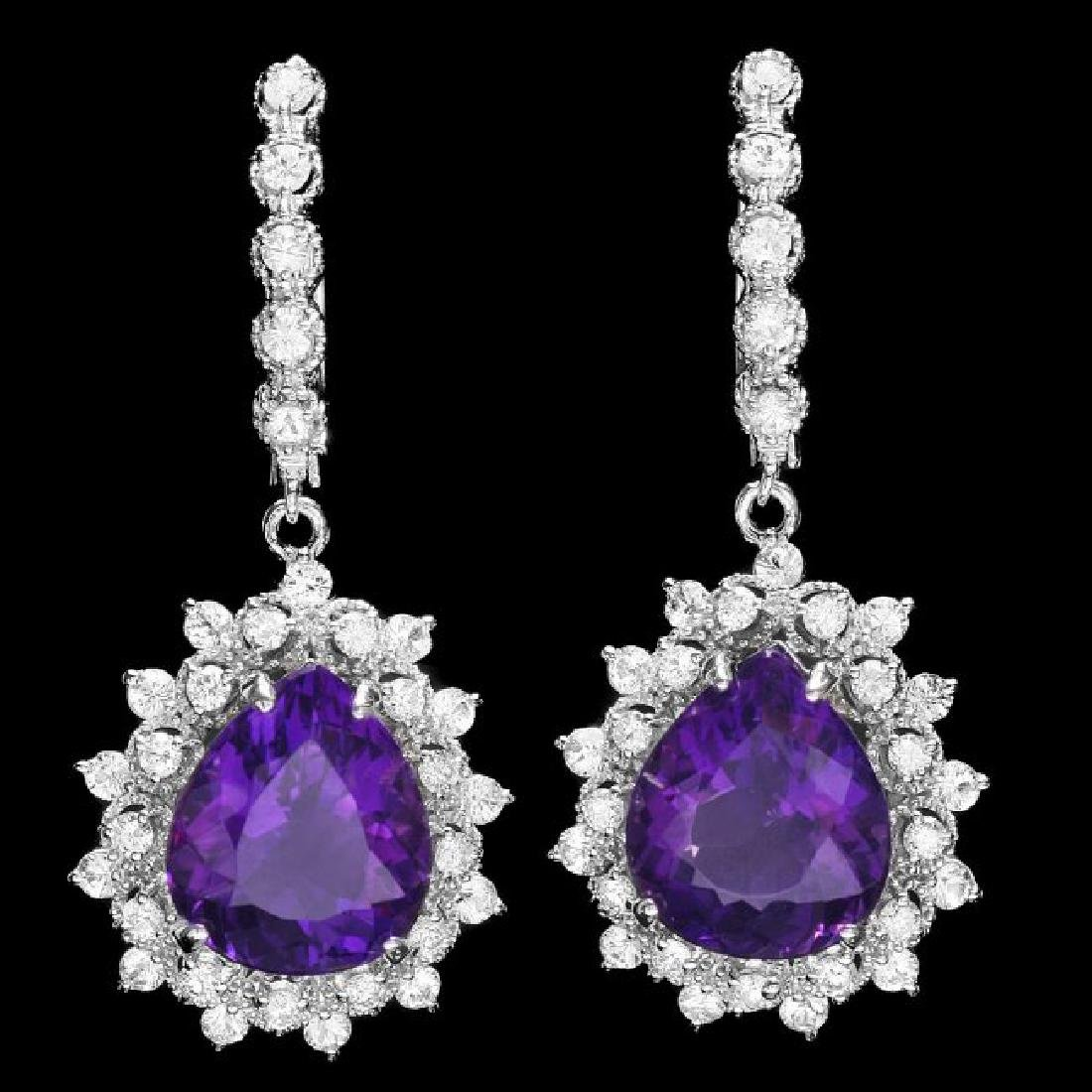 14k Gold 11ct Amethyst 2.10ct Diamond Earrings