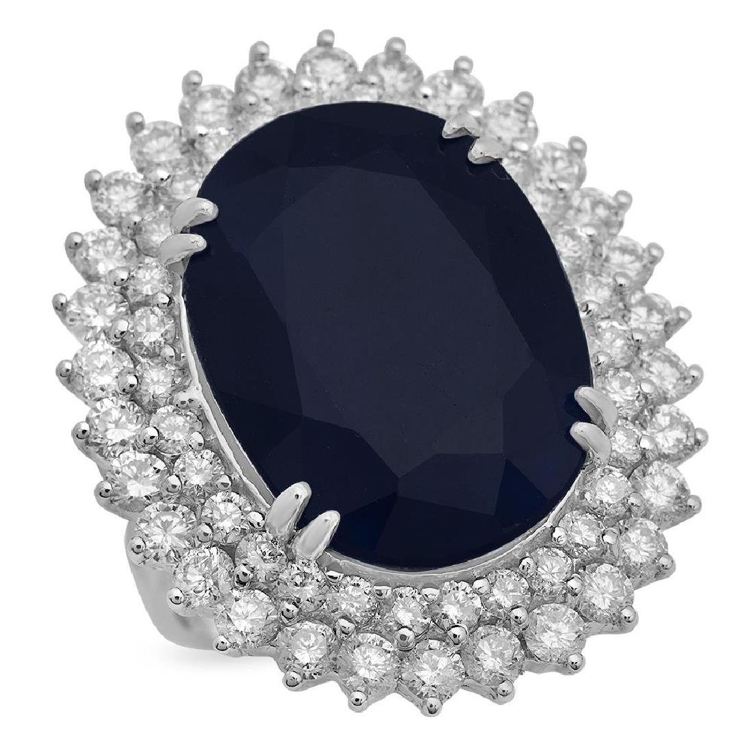 14K Gold 25.57ct Sapphire 3.39ct Diamond Ring