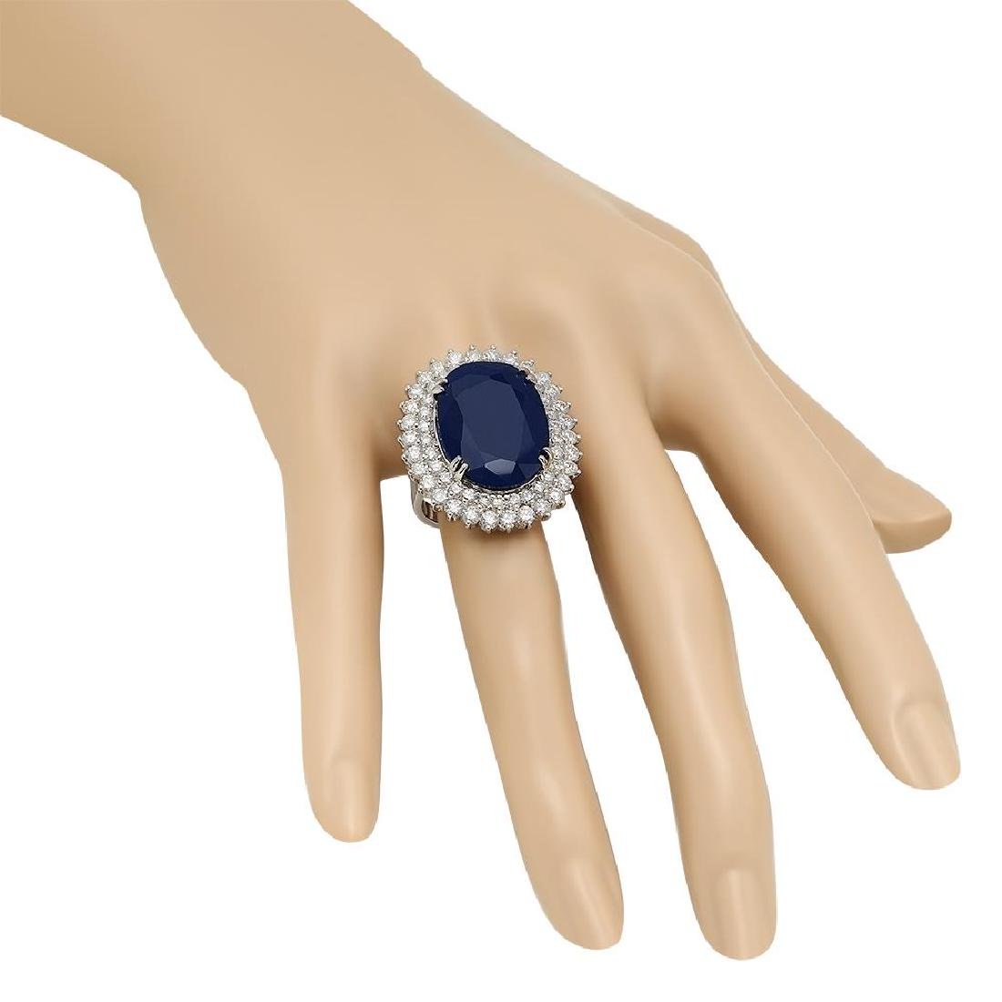 14K Gold 25.57ct Sapphire 3.39ct Diamond Ring - 3