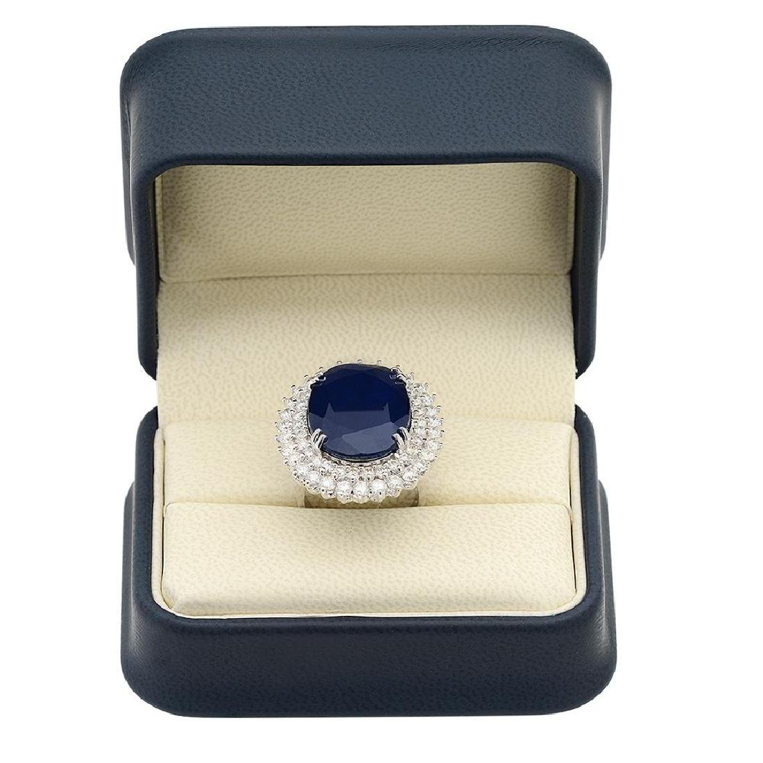 14K Gold 25.57ct Sapphire 3.39ct Diamond Ring - 4