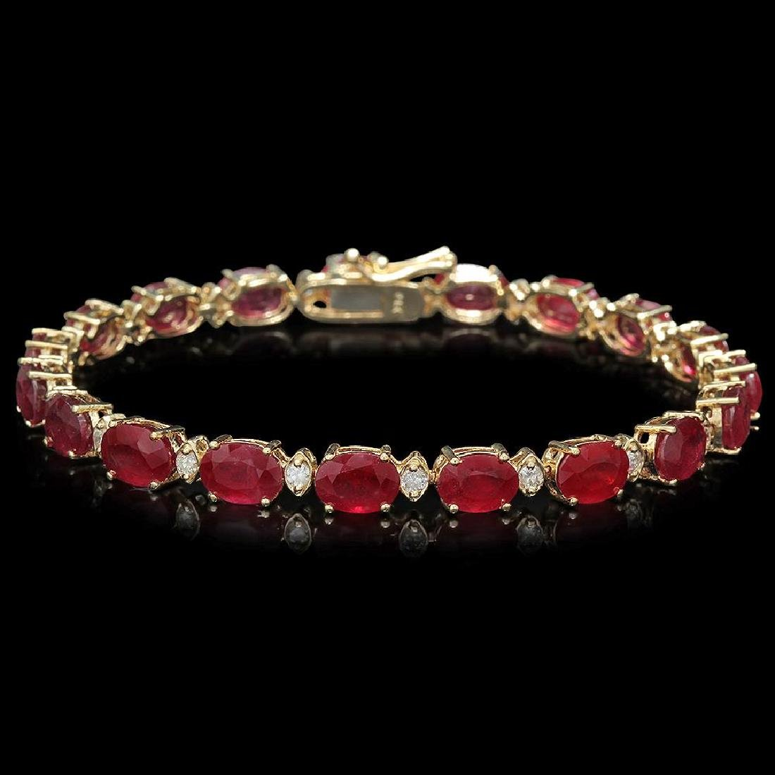 14K Gold 21.32ct Ruby 0.70ct Diamond Bracelet