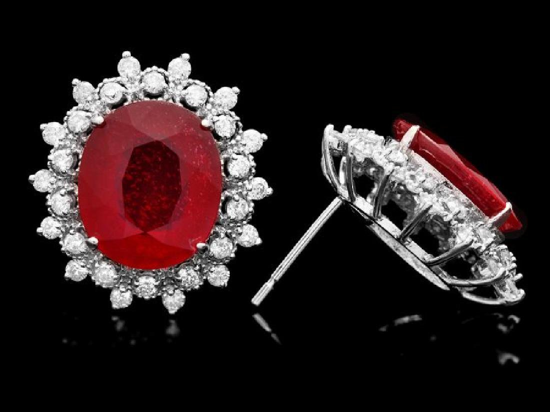 14k Gold 14.00ct Ruby 1.50ct Diamond Earrings - 3
