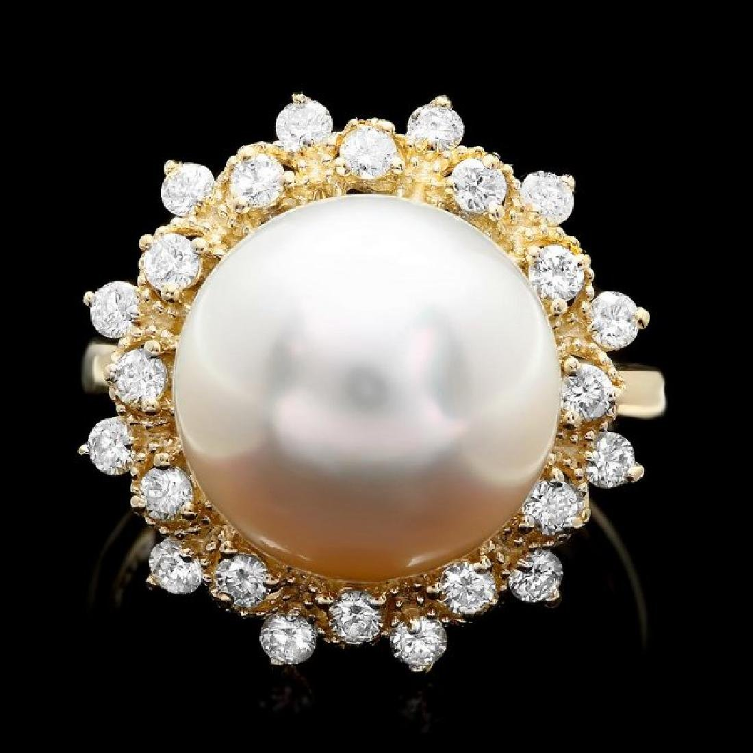 14k Gold 12 X 12mm Pearl 0.70ct Diamond Ring