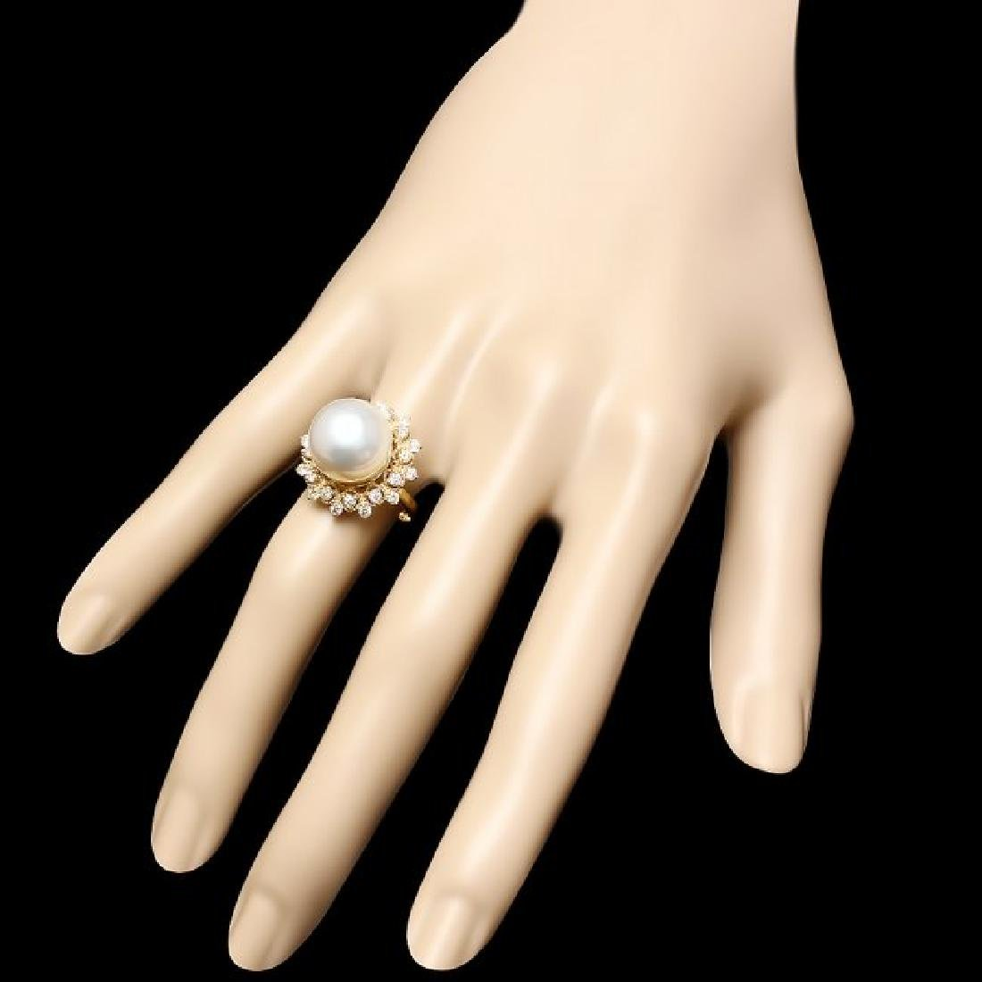 14k Gold 12 X 12mm Pearl 0.70ct Diamond Ring - 3