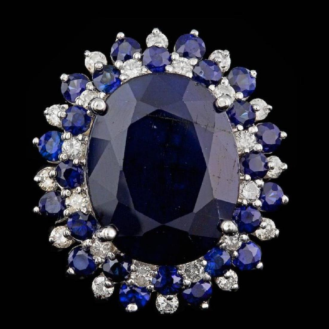 14k White Gold 13ct Sapphire 0.50ct Diamond Ring