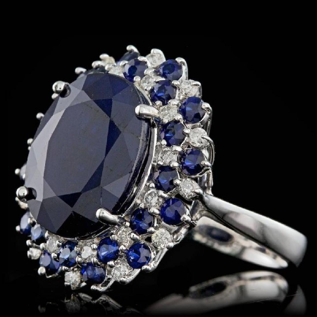 14k White Gold 13ct Sapphire 0.50ct Diamond Ring - 2