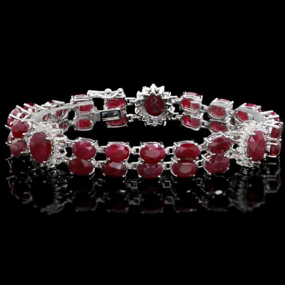 14k White Gold 43ct Ruby 1.65ct Diamond Bracelet
