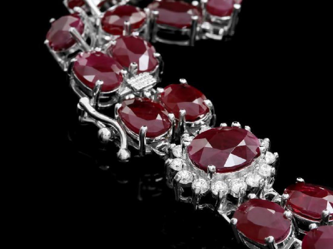 14k White Gold 43ct Ruby 1.65ct Diamond Bracelet - 2