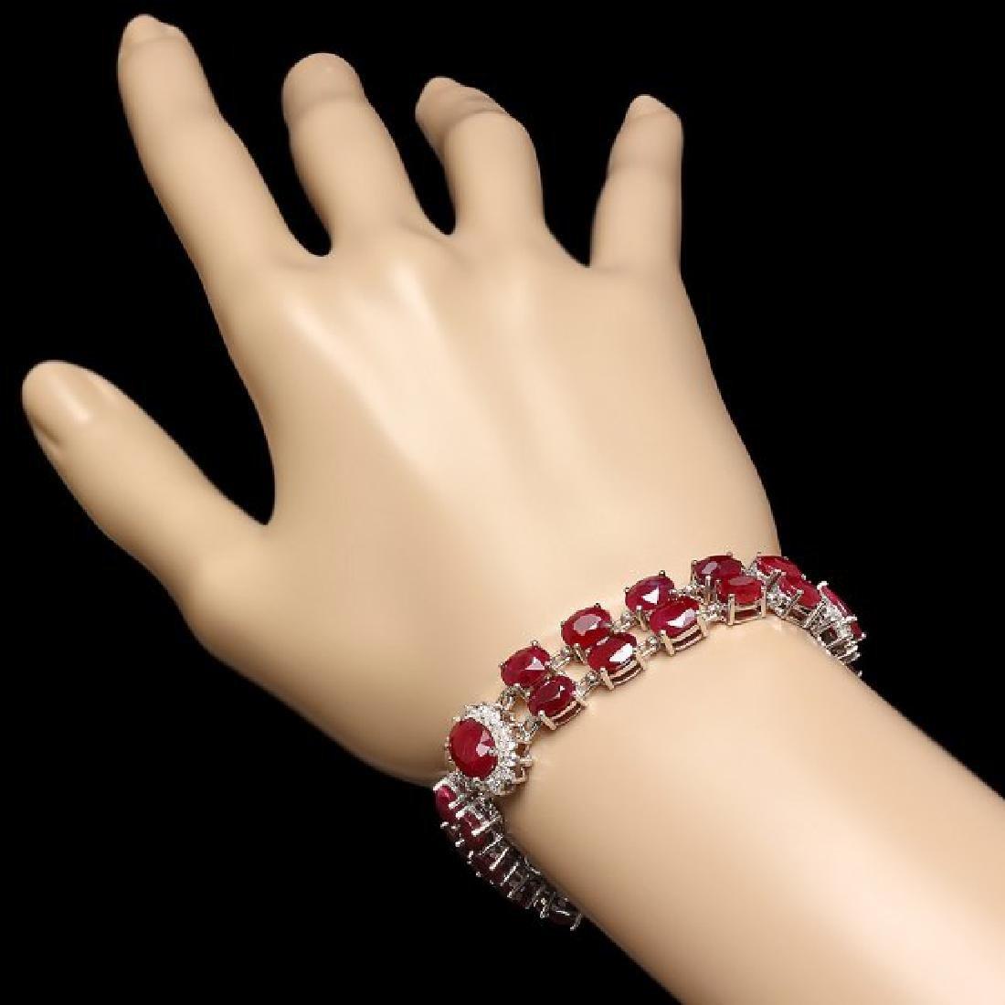 14k White Gold 43ct Ruby 1.65ct Diamond Bracelet - 3