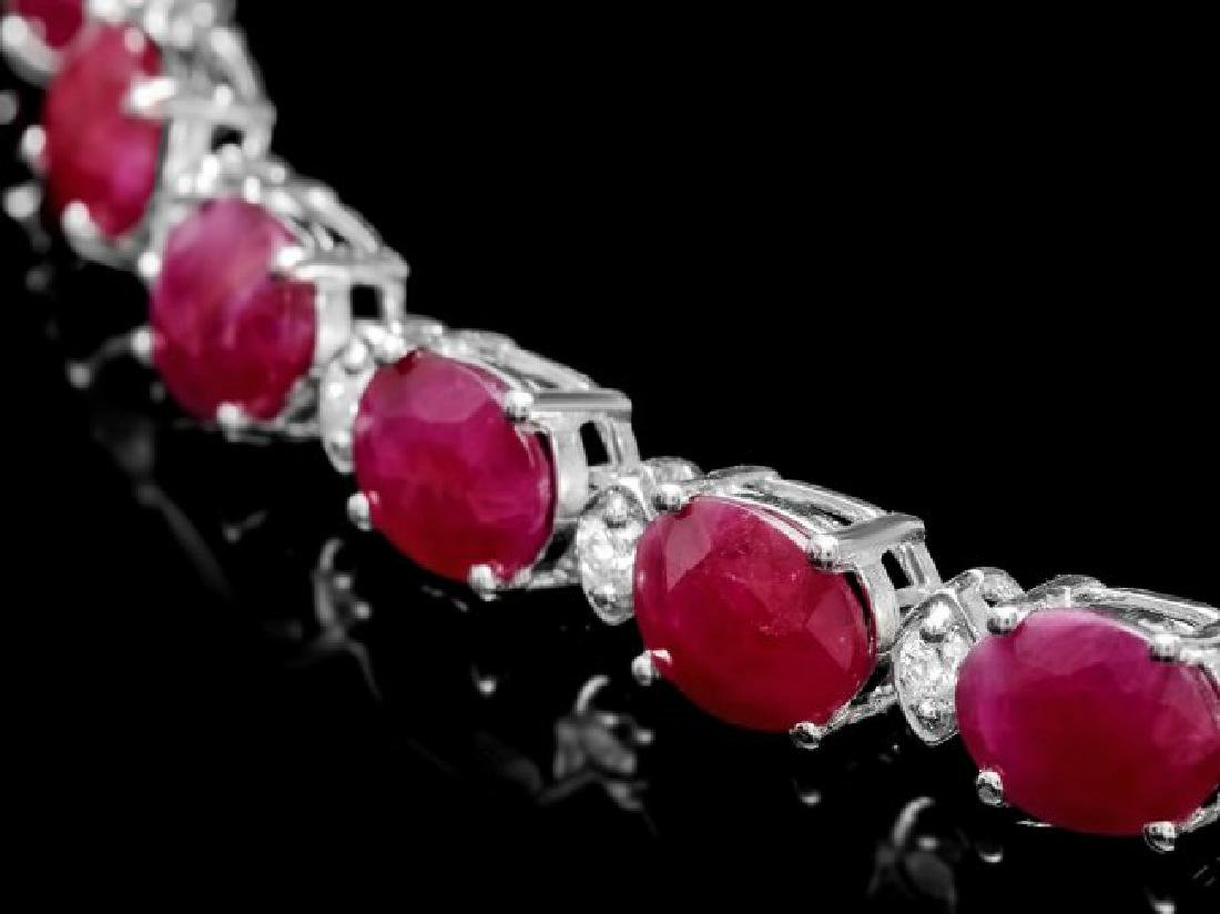 14k Gold 37.00ct Ruby 1.70ct Diamond Necklace - 3