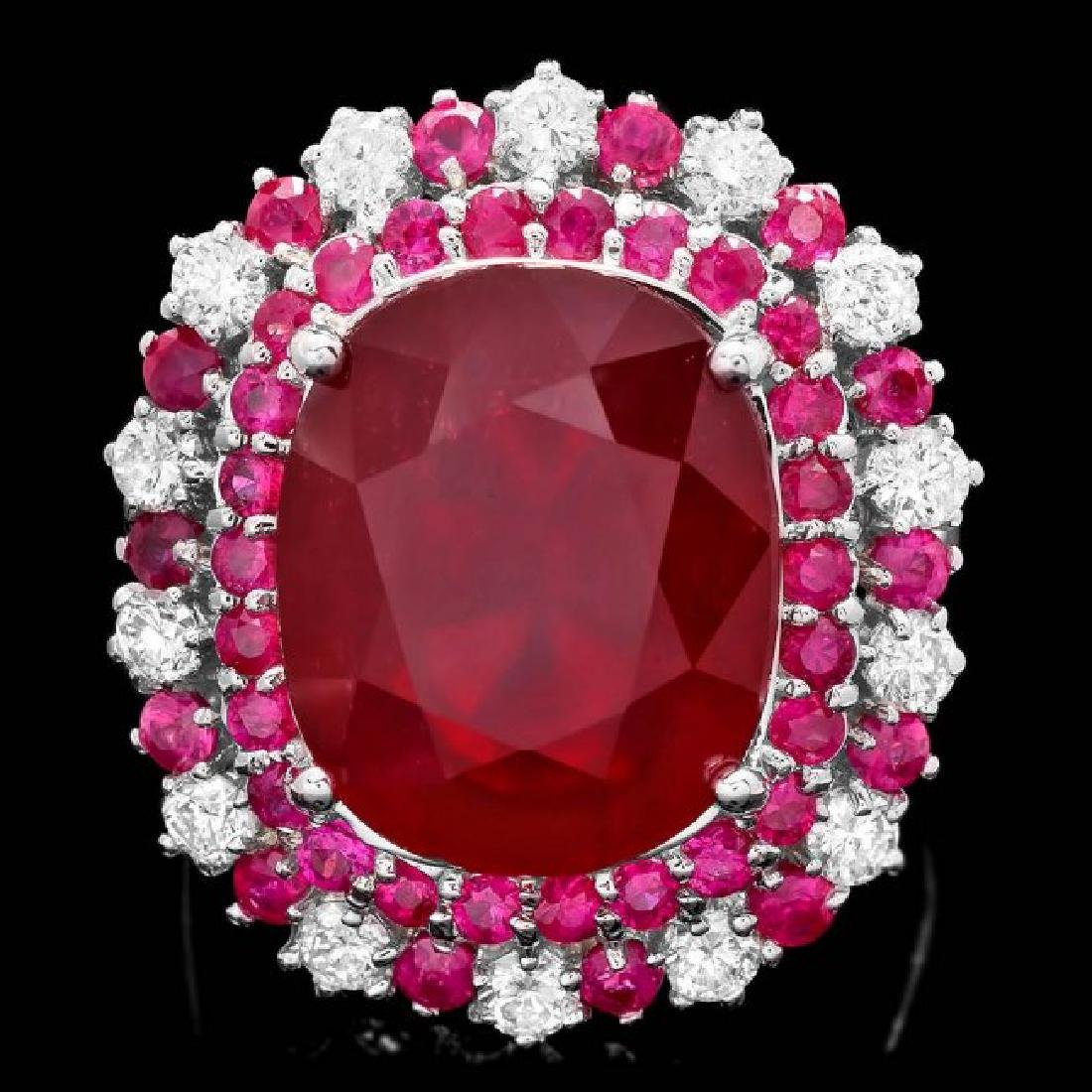 14k White Gold 17.5ct Ruby 0.88ct Diamond Ring