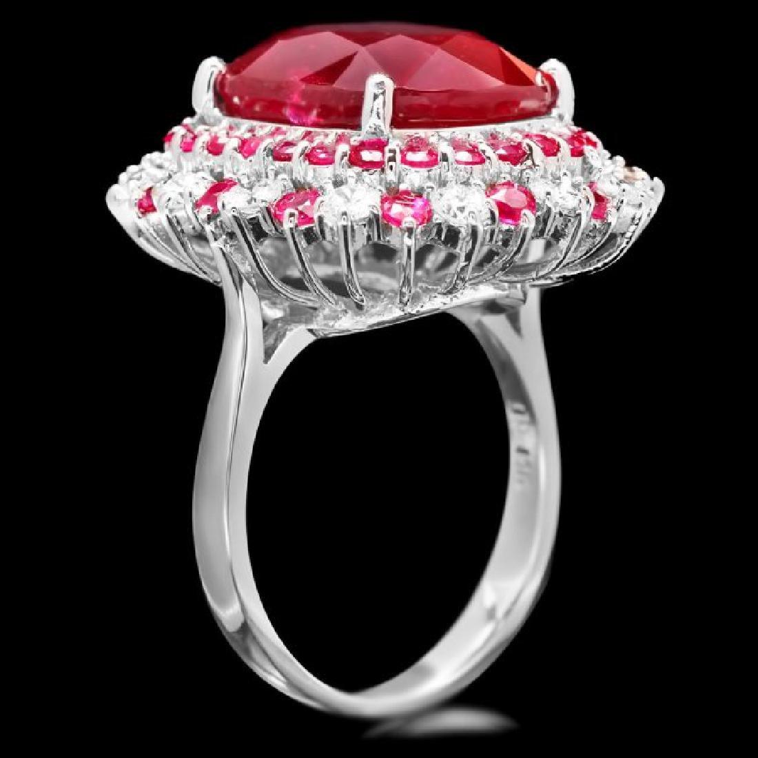 14k White Gold 17.5ct Ruby 0.88ct Diamond Ring - 3