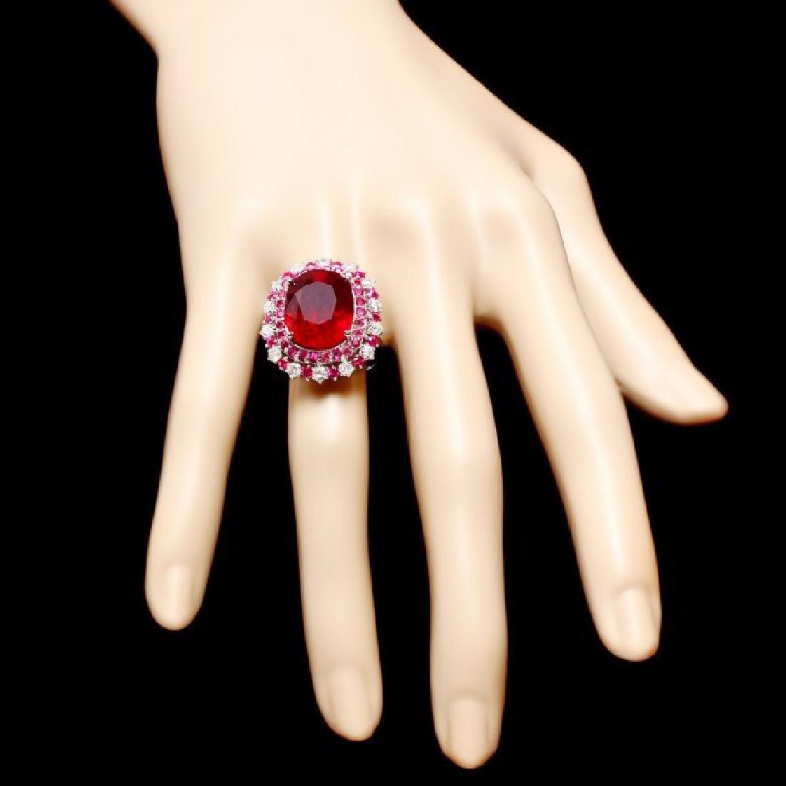 14k White Gold 17.5ct Ruby 0.88ct Diamond Ring - 4