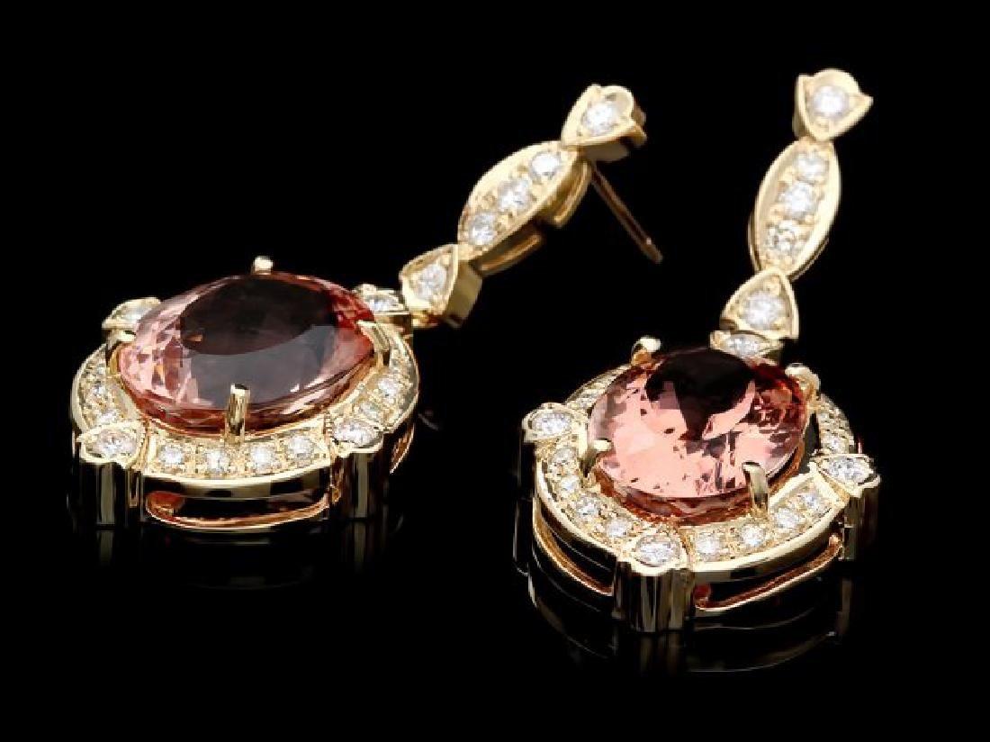 14k Y Gold 15ct Morganite 1.45ct Diamond Earrings - 2