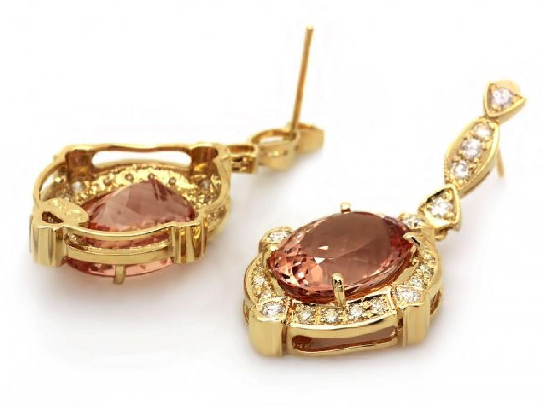 14k Y Gold 15ct Morganite 1.45ct Diamond Earrings - 3