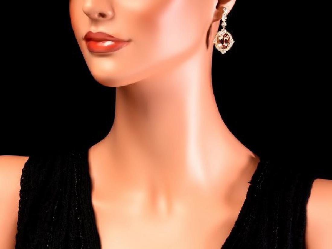 14k Y Gold 15ct Morganite 1.45ct Diamond Earrings - 4
