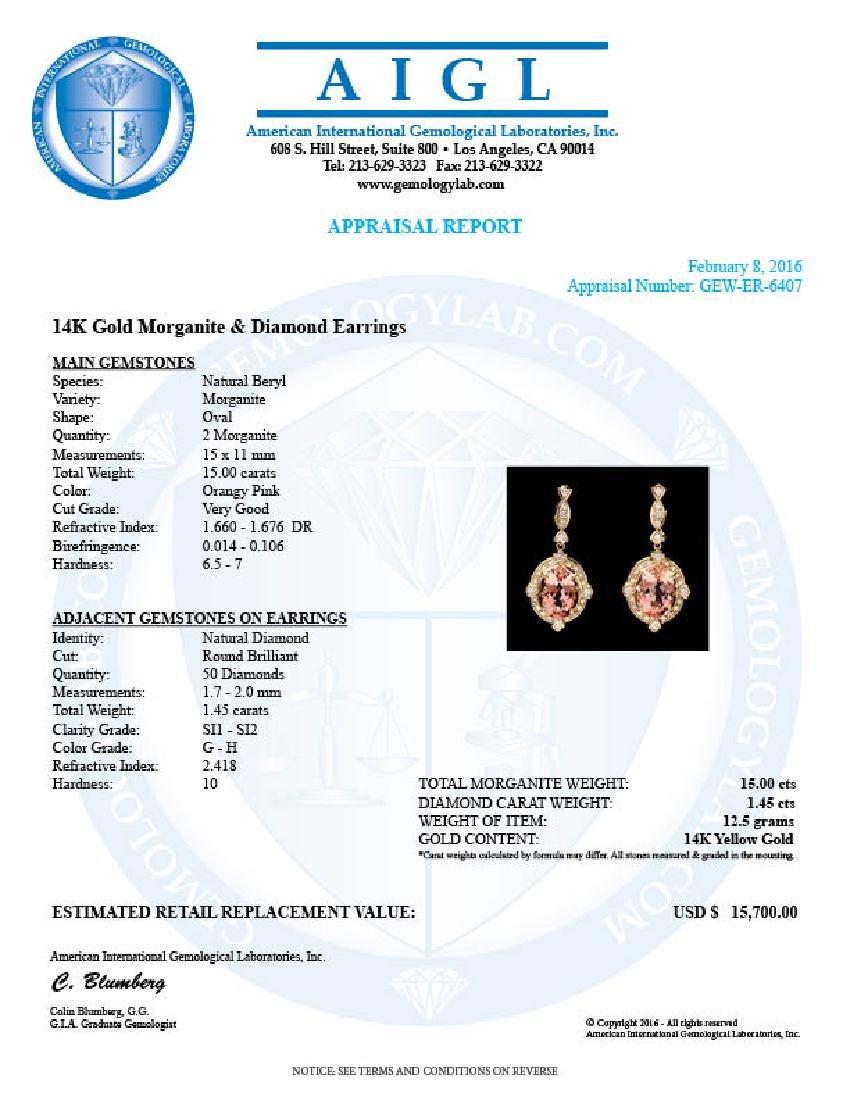 14k Y Gold 15ct Morganite 1.45ct Diamond Earrings - 5