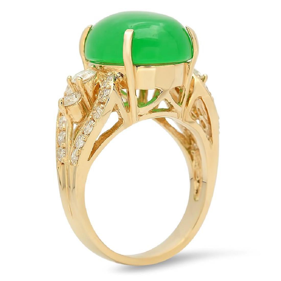 14K Gold 9.38ct Jadeite 1.25cts Diamond Ring - 2