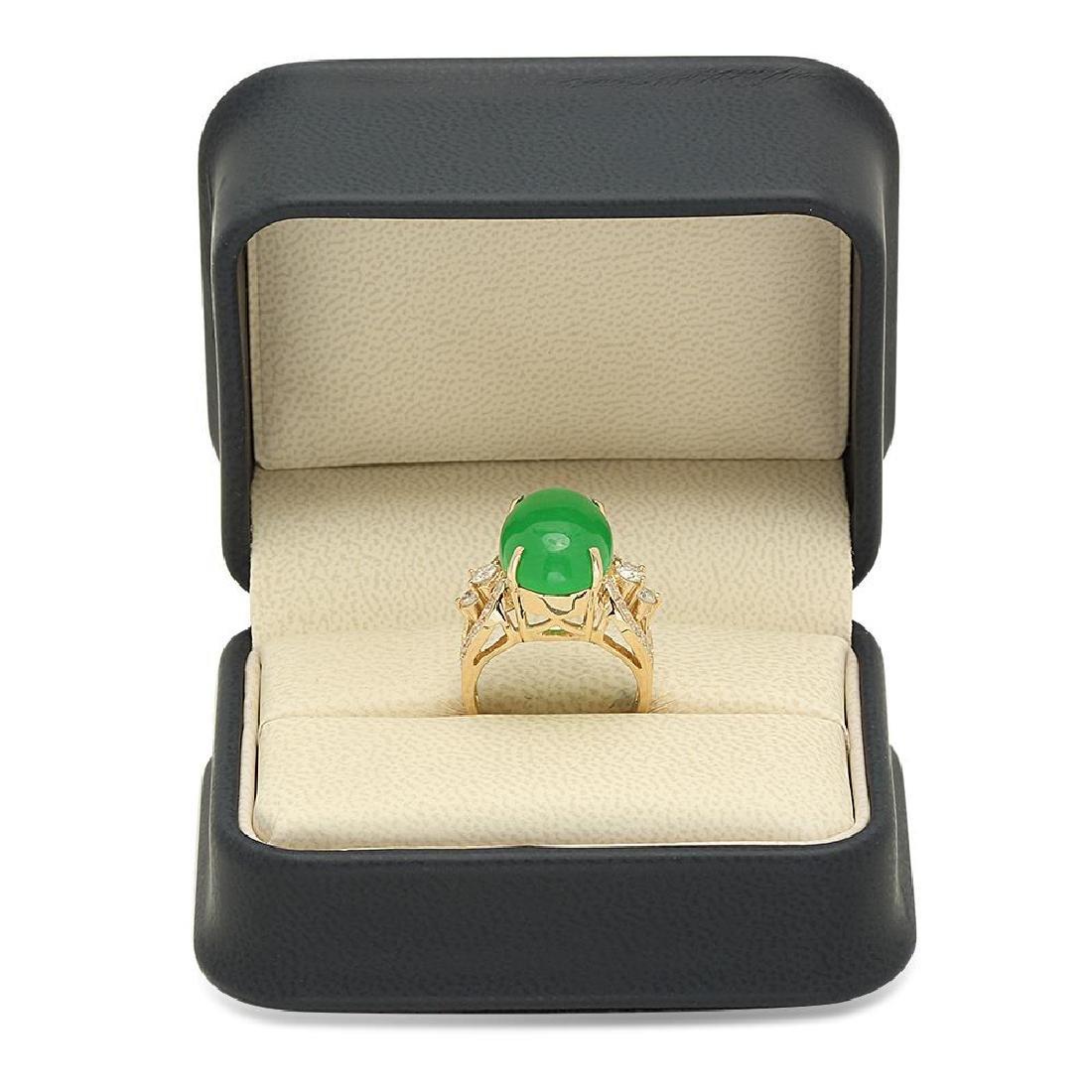 14K Gold 9.38ct Jadeite 1.25cts Diamond Ring - 4