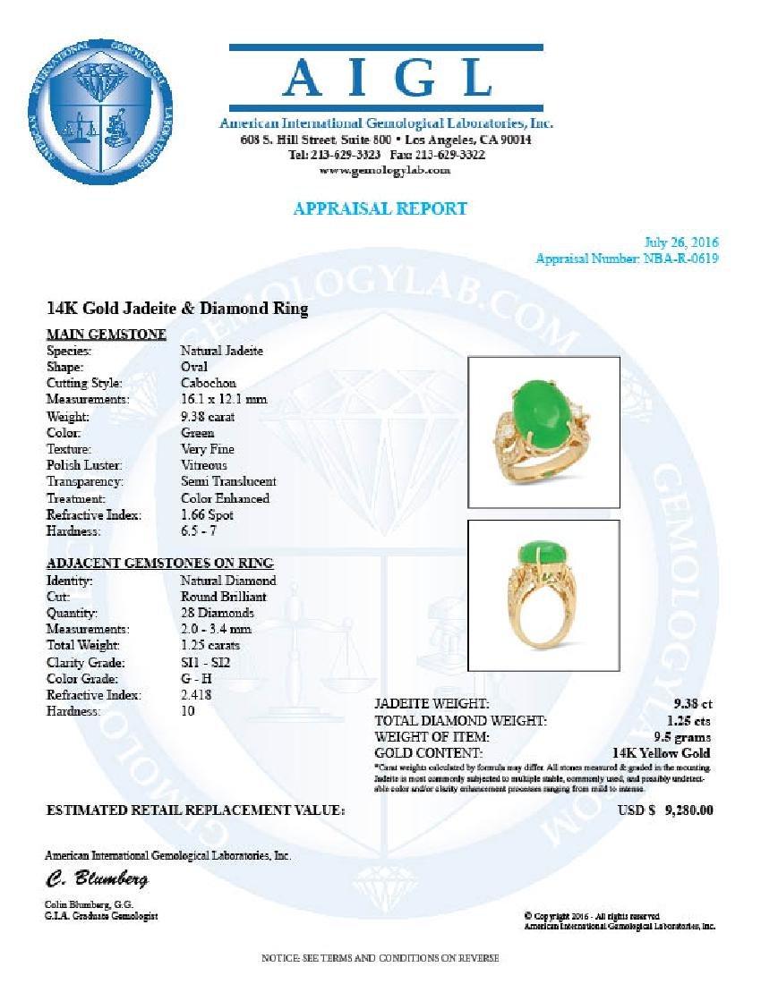 14K Gold 9.38ct Jadeite 1.25cts Diamond Ring - 5
