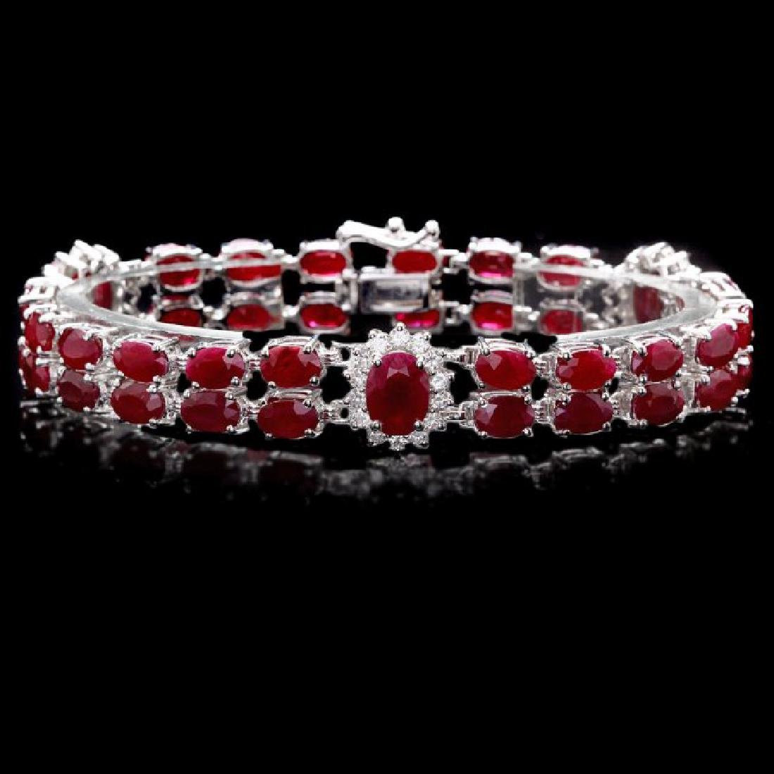 14k White Gold 22ct Ruby 1.30ct Diamond Bracelet
