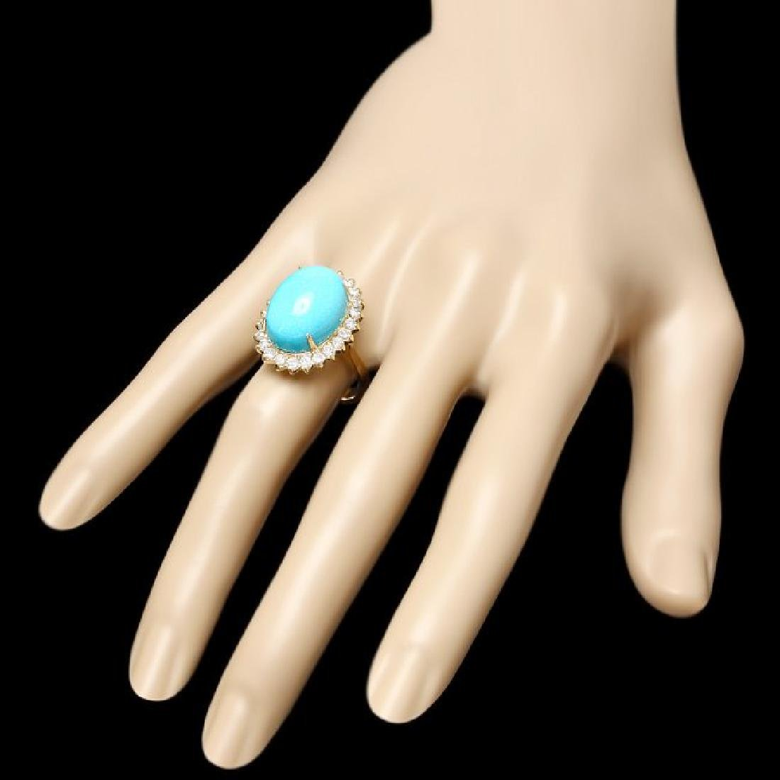 14k Yellow Gold 10ct Turquoise 1ct Diamond Ring - 3
