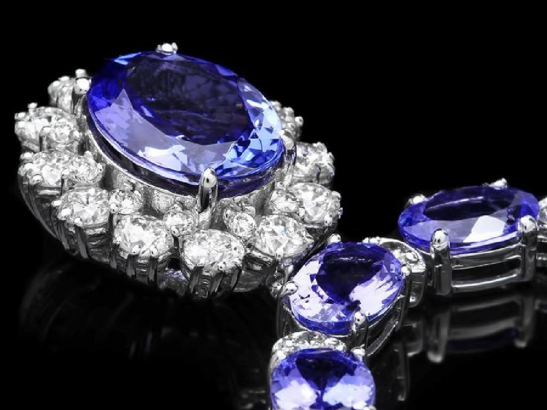 14k Gold 35ct Tanzanite 3.30ct Diamond Necklace