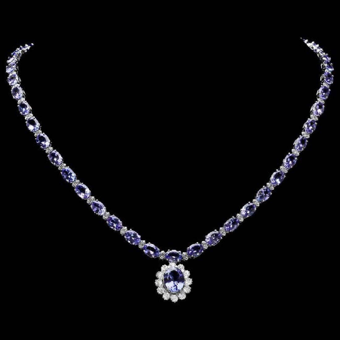14k Gold 35ct Tanzanite 3.30ct Diamond Necklace - 2