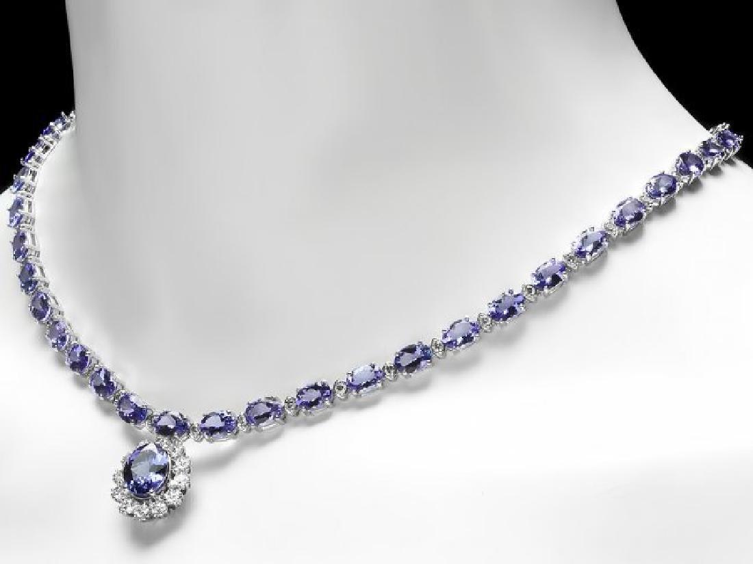 14k Gold 35ct Tanzanite 3.30ct Diamond Necklace - 4