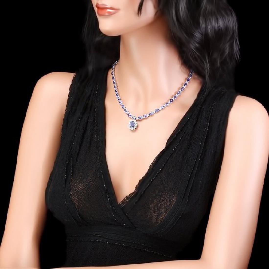 14k Gold 35ct Tanzanite 3.30ct Diamond Necklace - 5