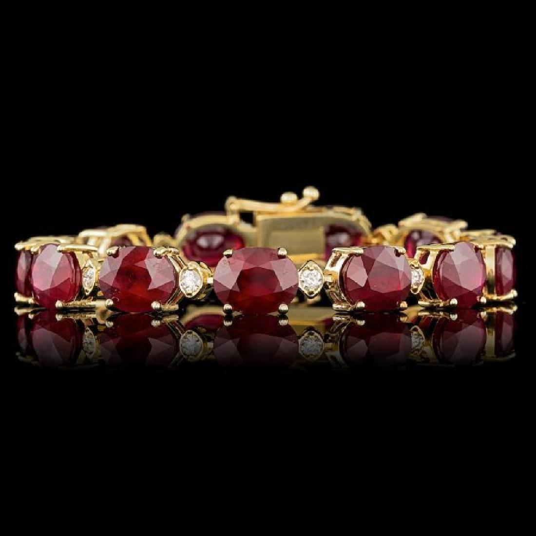 14k Gold 46.50ct Ruby 0.90ct Diamond Bracelet