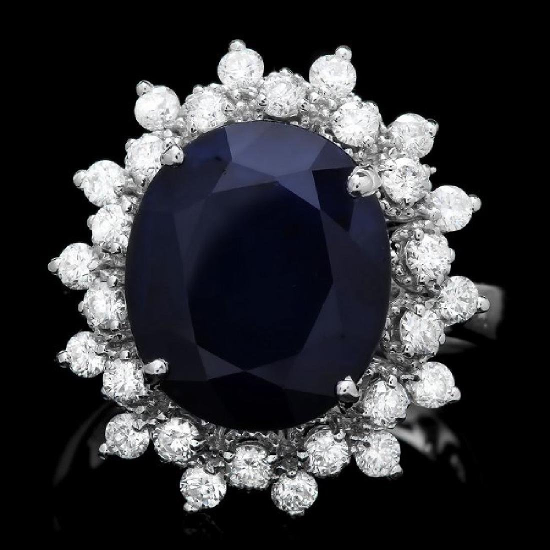 14k Gold 6.50ct Sapphire 0.85ct Diamond Ring