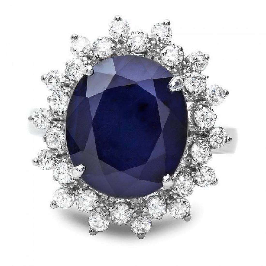 14k Gold 6.50ct Sapphire 0.85ct Diamond Ring - 2