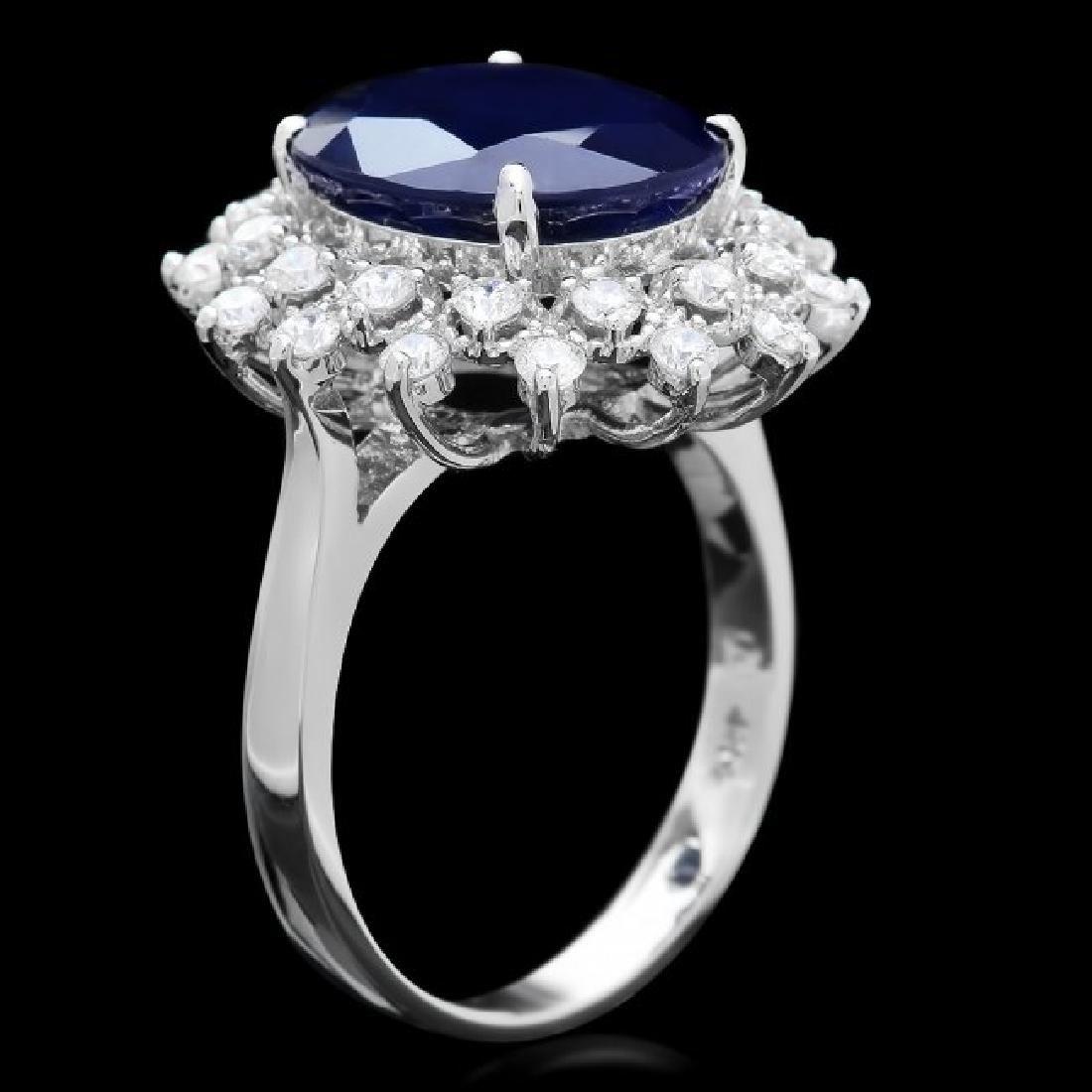 14k Gold 6.50ct Sapphire 0.85ct Diamond Ring - 3