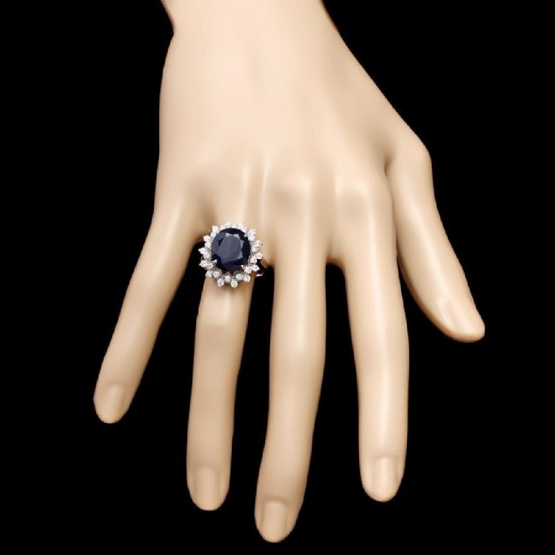 14k Gold 6.50ct Sapphire 0.85ct Diamond Ring - 4