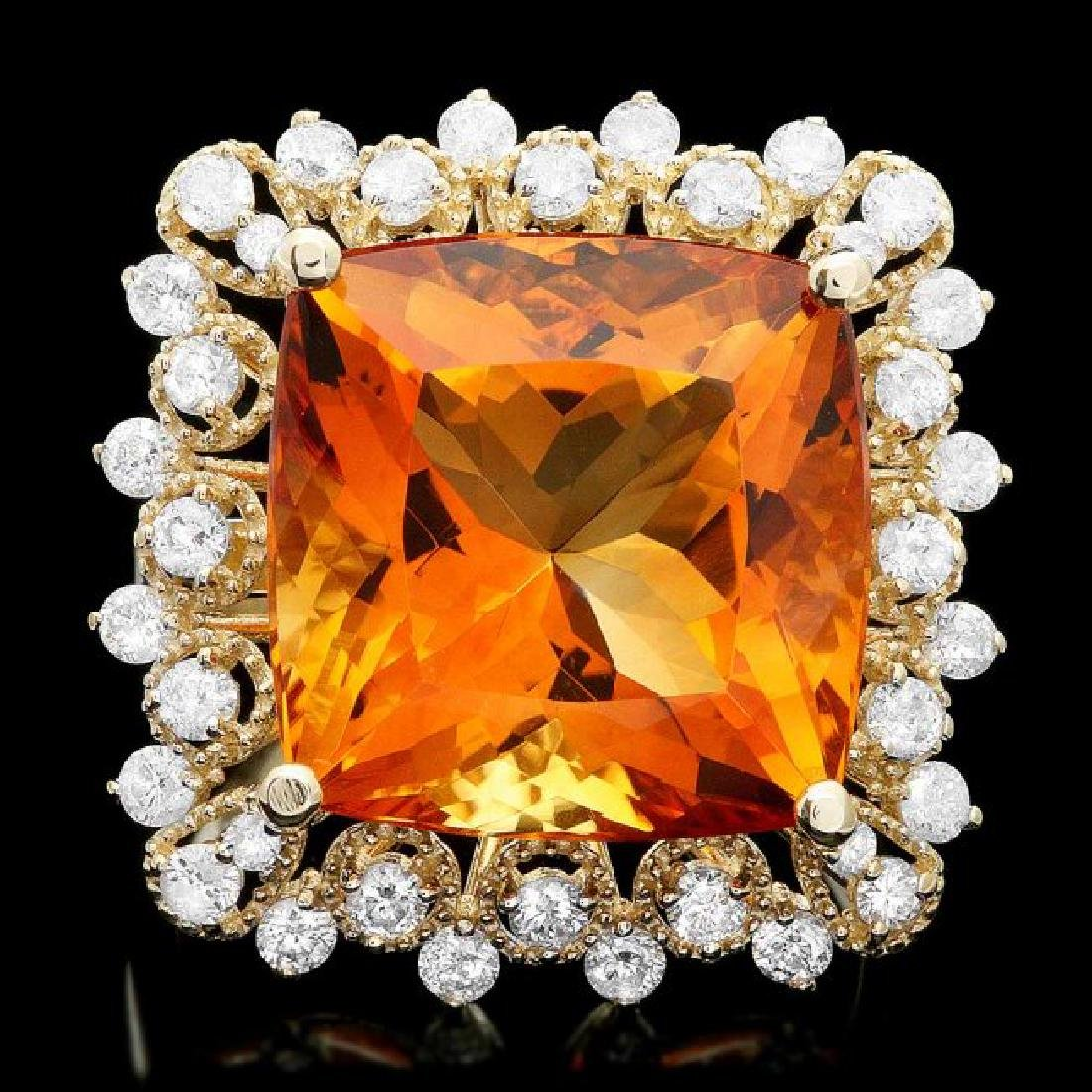 14k Gold 12.00ct Citrine 1.00ct Diamond Ring