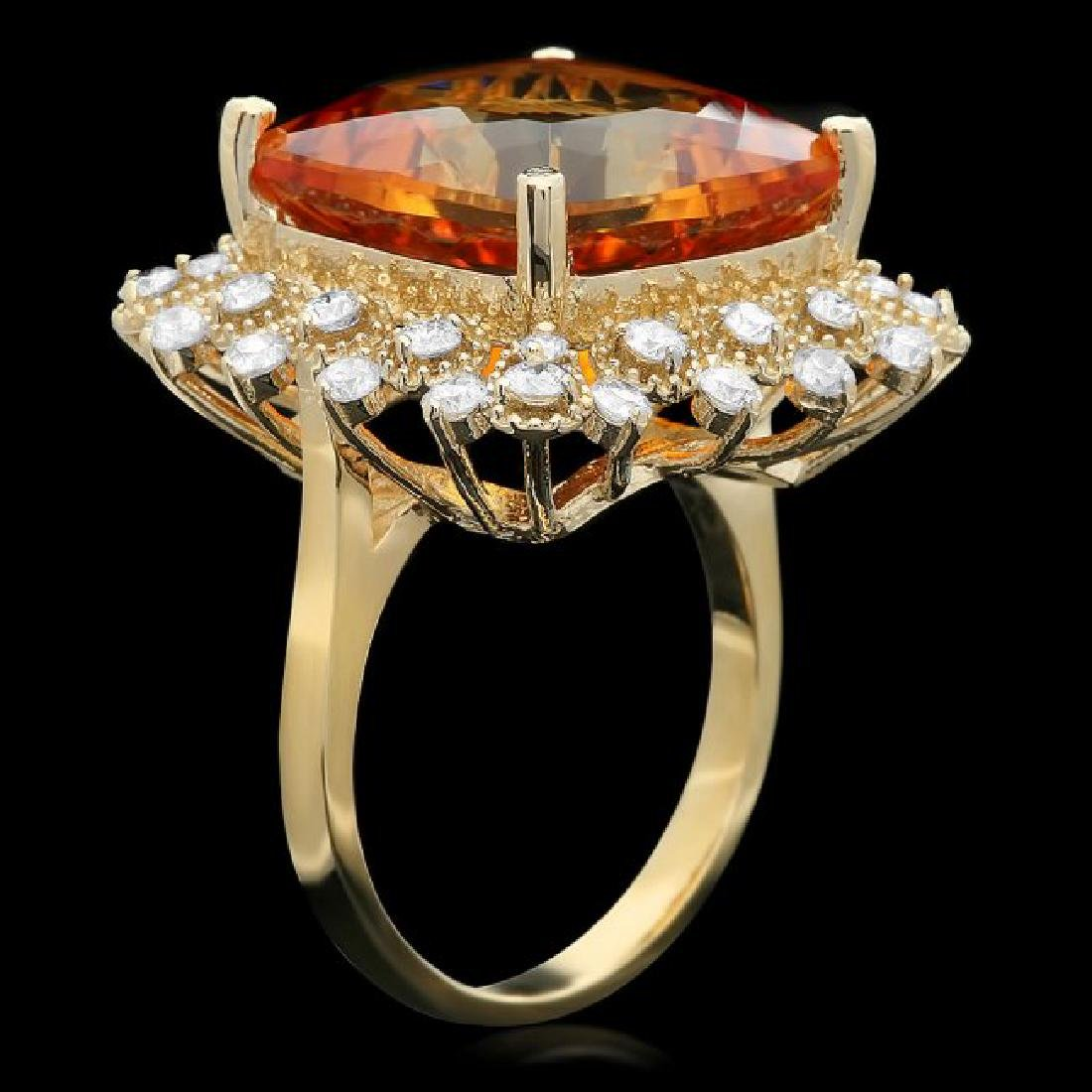 14k Gold 12.00ct Citrine 1.00ct Diamond Ring - 2