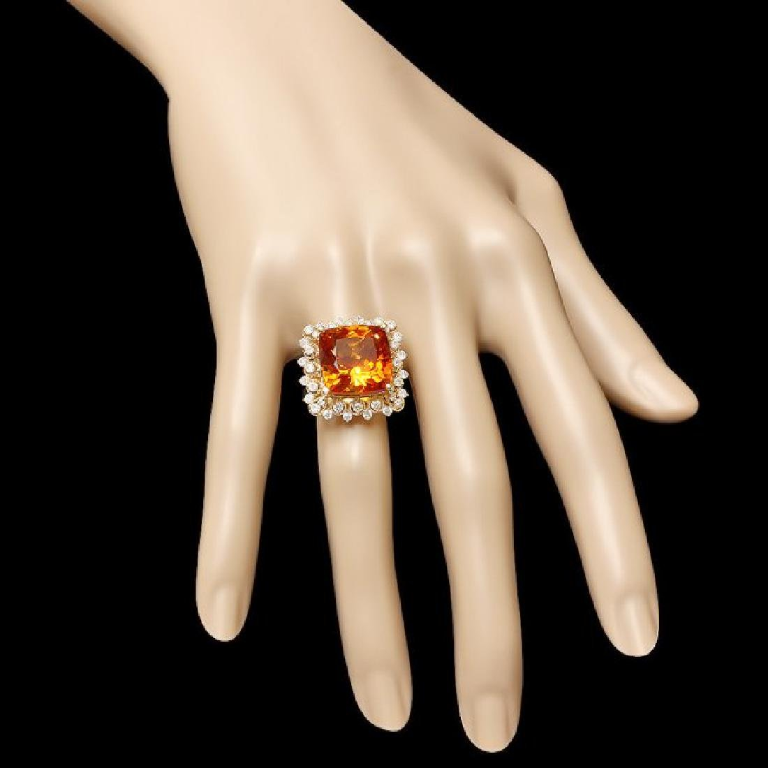 14k Gold 12.00ct Citrine 1.00ct Diamond Ring - 3