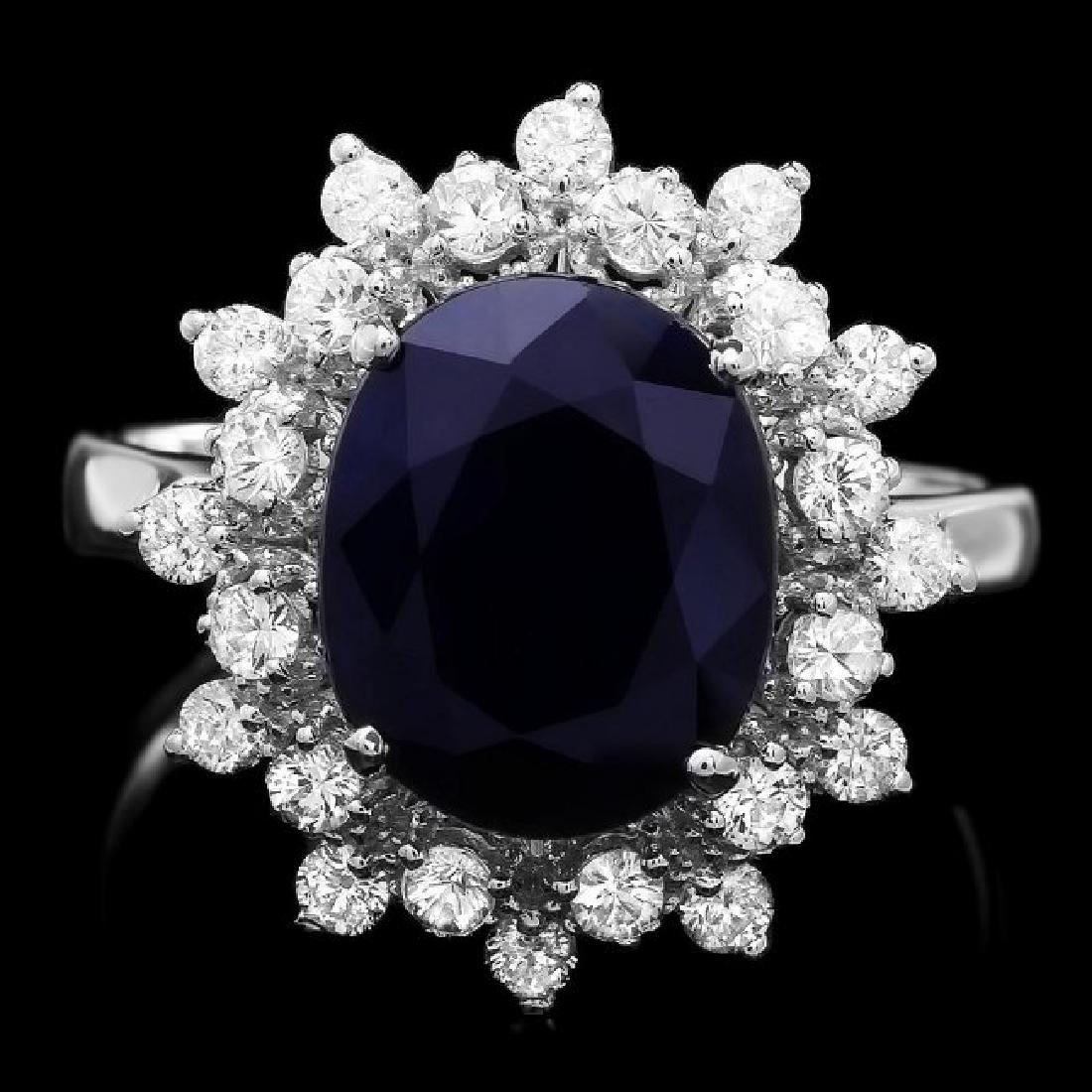 14k Gold 4.00ct Sapphire 0.75ct Diamond Ring