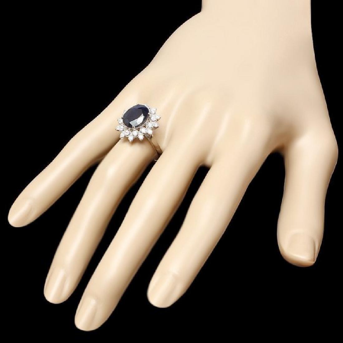 14k Gold 4.00ct Sapphire 0.75ct Diamond Ring - 3