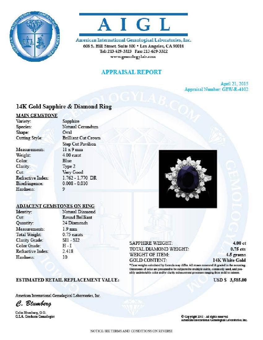 14k Gold 4.00ct Sapphire 0.75ct Diamond Ring - 4