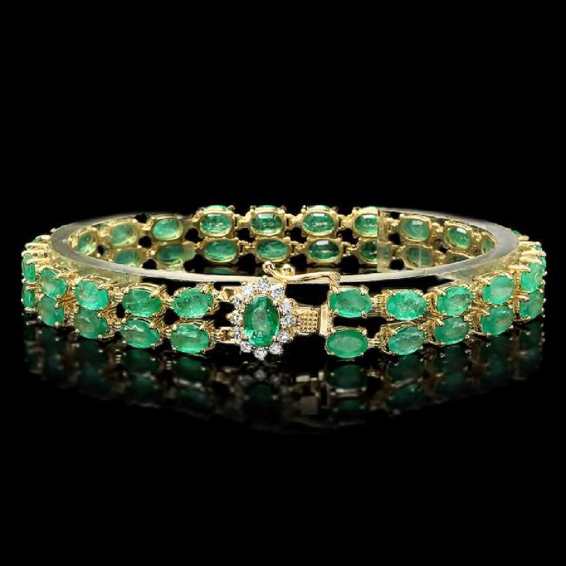 14k Gold 18ct Emerald 0.40ct Diamond Bracelet - 2