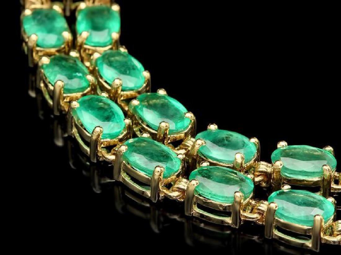 14k Gold 18ct Emerald 0.40ct Diamond Bracelet - 3