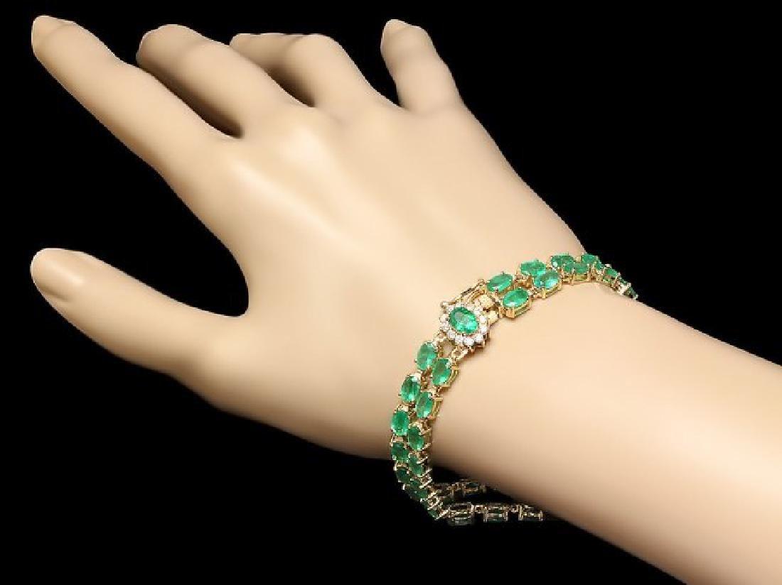 14k Gold 18ct Emerald 0.40ct Diamond Bracelet - 4