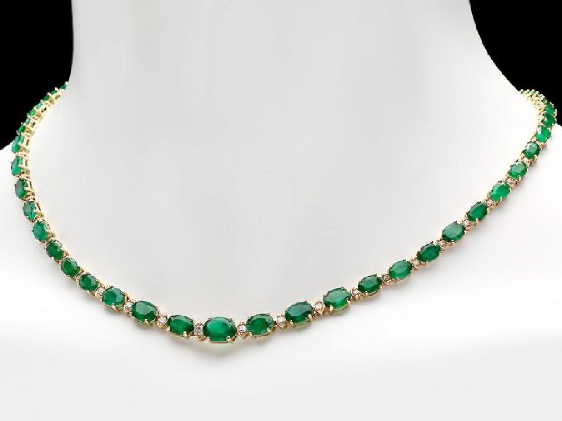 14k Gold 23ct Emerald 1.10ct Diamond Necklace - 2