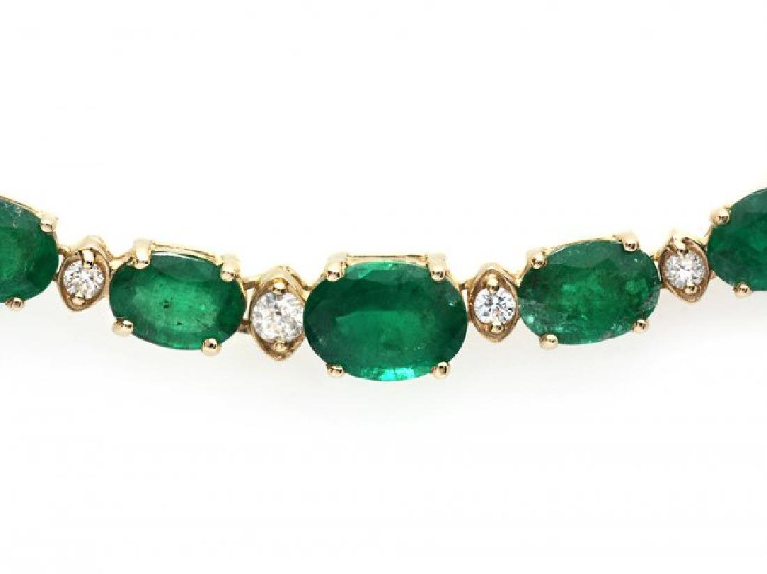 14k Gold 23ct Emerald 1.10ct Diamond Necklace - 3