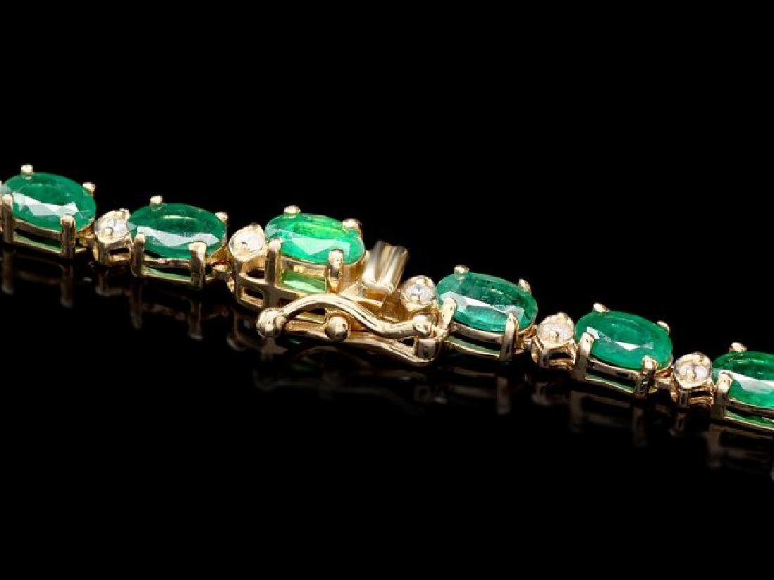 14k Gold 23ct Emerald 1.10ct Diamond Necklace - 4