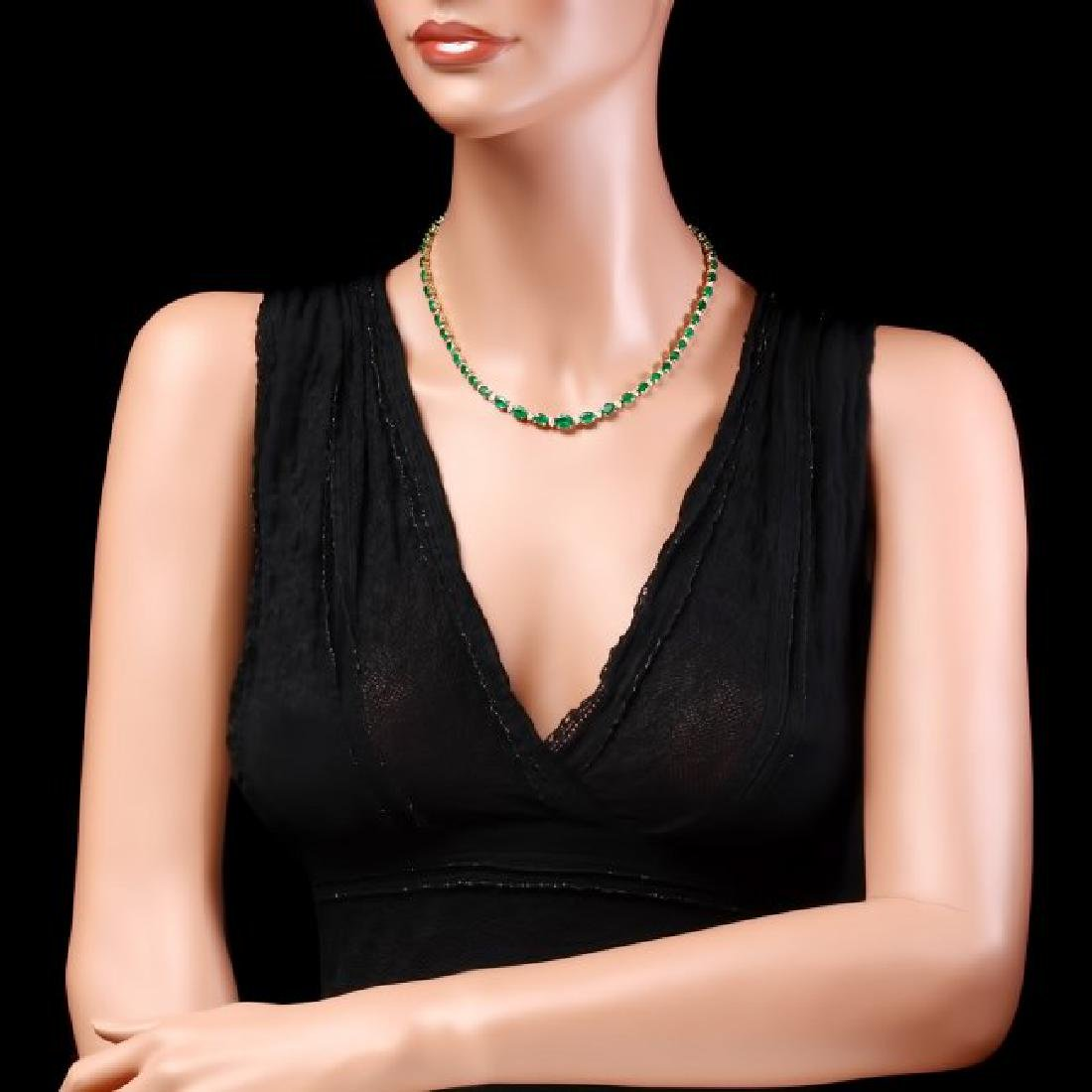 14k Gold 23ct Emerald 1.10ct Diamond Necklace - 5